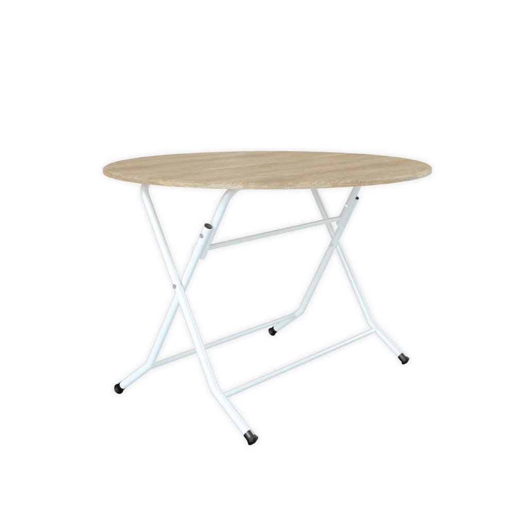 FOOD COURT TABLE<br>TYPE : ARENDAL 120<br>SIZE : ø 115 X 75 CM<br>COLOUR : SONOMA + WHT GL