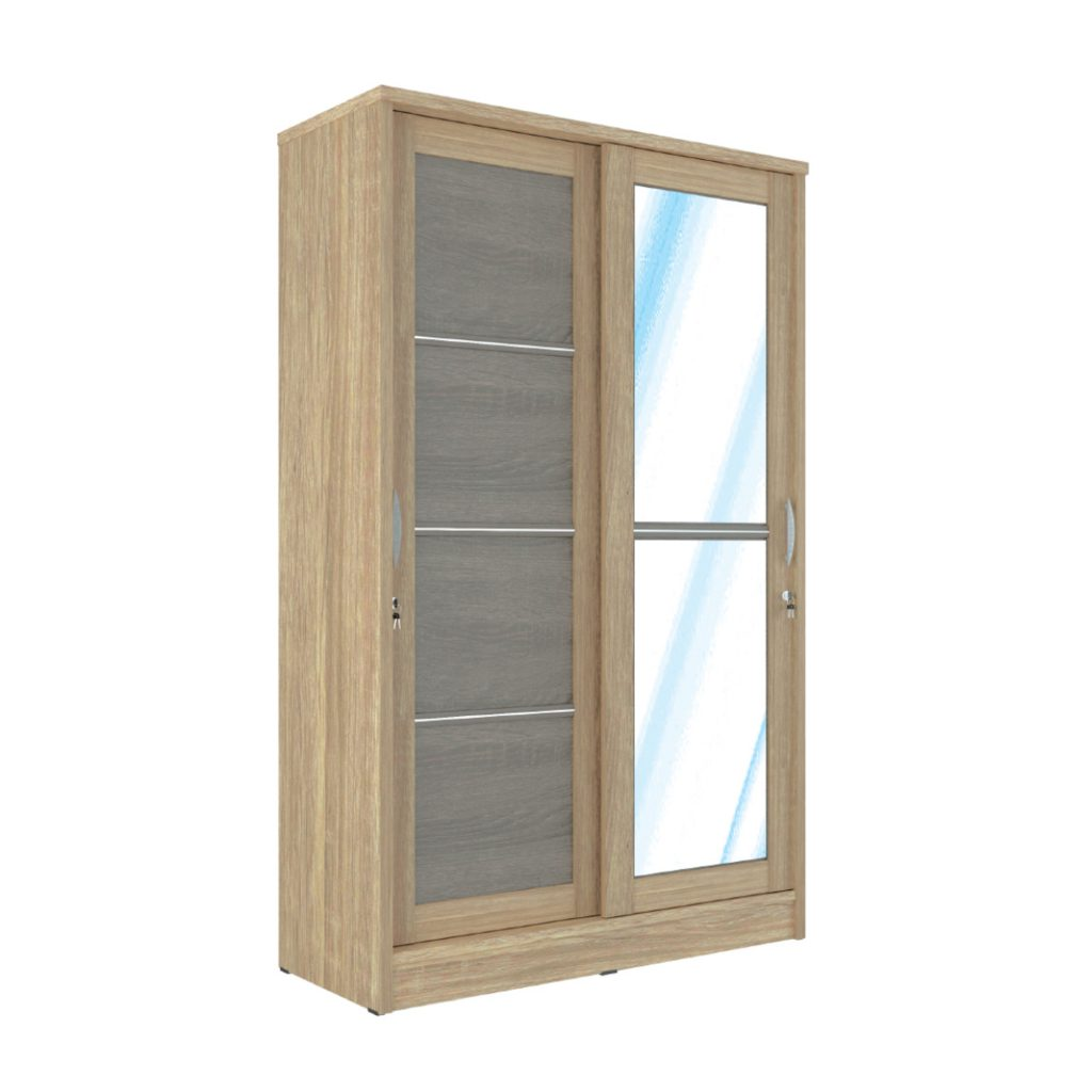 SLIDING WARDROBE<br>TYPE : BM - 5121<br>SIZE : 120 X 52 X 195 CM<br>COLOUR : SONOMA L CREAM