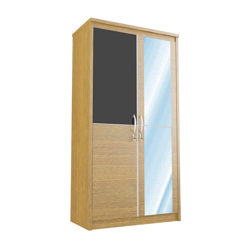 SWING WARDROBE WITH 2 DOOR<br>TYPE : CM - 2101<br>SIZE : 101 X 52 X 195 CM<br>COLOUR : WALNUT + BLACK GLOSS