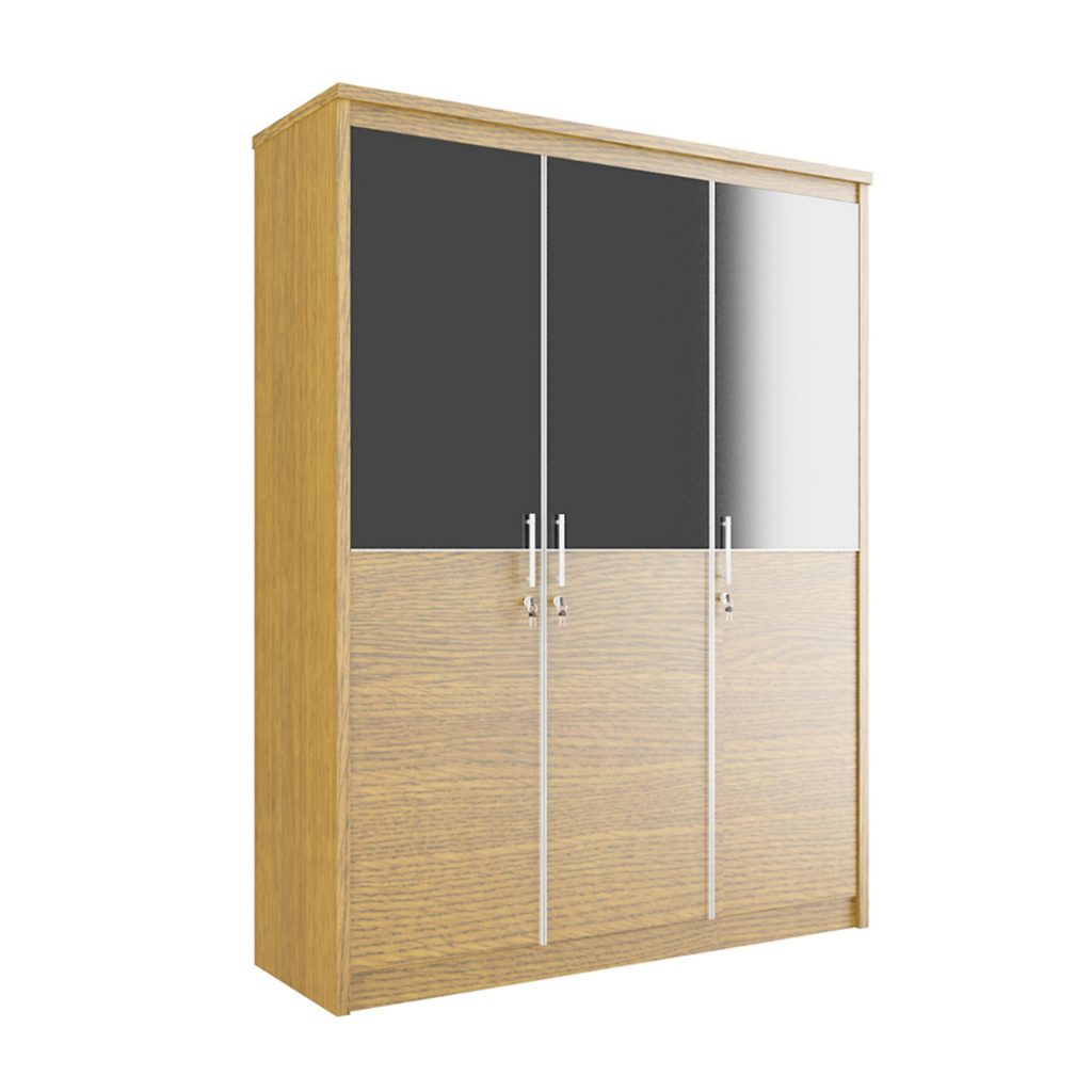 SWING WARDROBE WITH 3 DOOR<br>TYPE : CM - 3150<br>SIZE : 149 X 52 X 195 CM<br>COLOUR : WALNUT + BLACK GLOSS