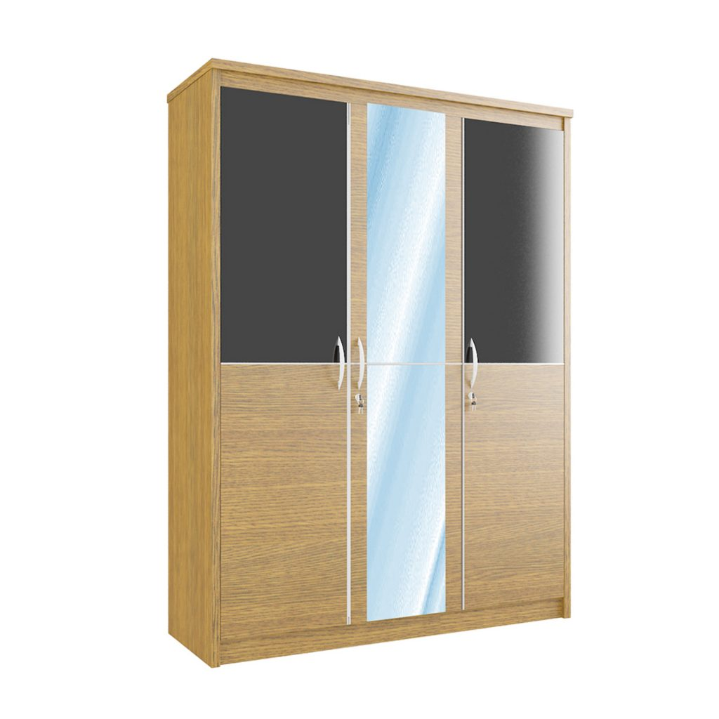 SWING WARDROBE WITH 3 DOOR + MIRROR<br>TYPE : CM - 3151<br>SIZE : 149 X 52 X 195 CM<br>COLOUR : WALNUT + BLACK GLOSS