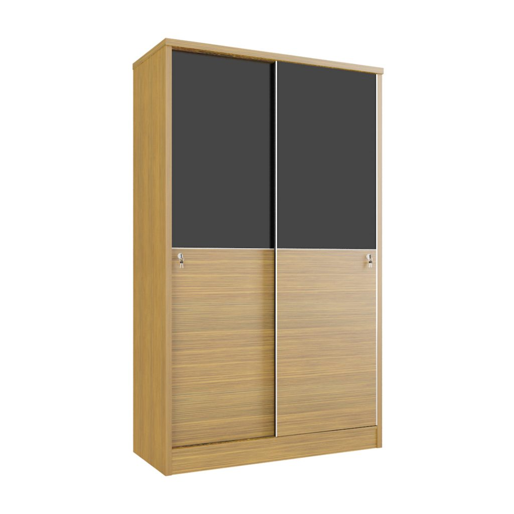 SLIDING WARDROBE<br>TYPE : CM - 5120<br>SIZE : 120 X 52 X 195 CM<br>COLOUR : WALNUT + BLACK GLOSS