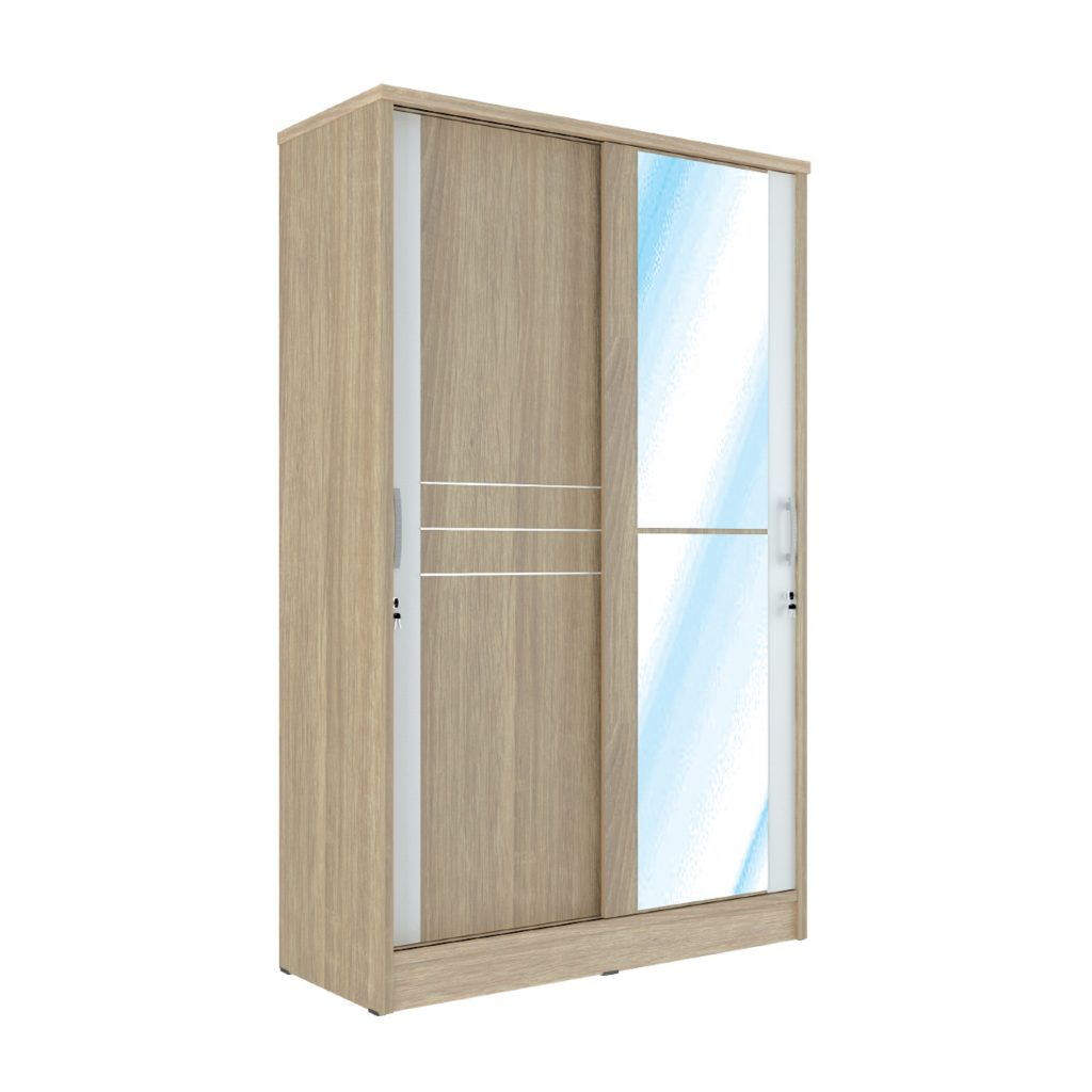 SLIDING WARDROBE<br>TYPE : GL - 5121<br>SIZE : 120 X 52 X 195 CM<br>COLOUR : SONOMA L CREAM + WHITE