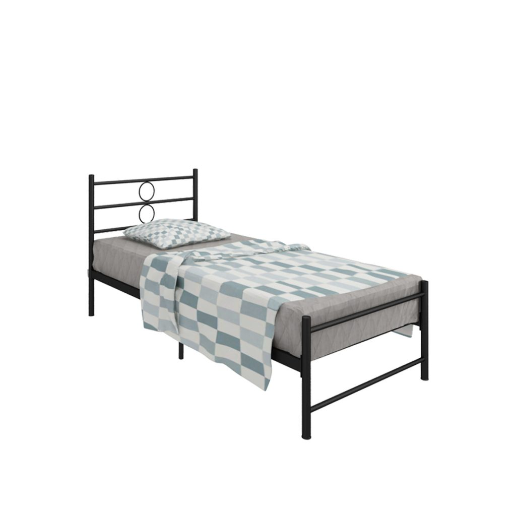 SINGLE BED<br>TYPE : JACOB<br>SIZE : 95,5 X 207 X 93 CM<br>COLOUR : BLACK