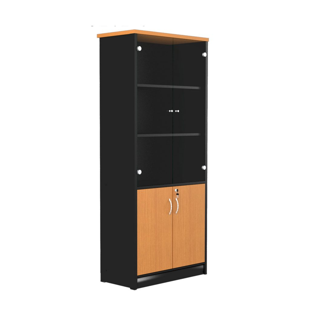 HIGH CABINET<br>TYPE : NSR - 1080<br>SIZE : 77 X 40 X 180 CM<br>COLOUR : BEECH - BLACK