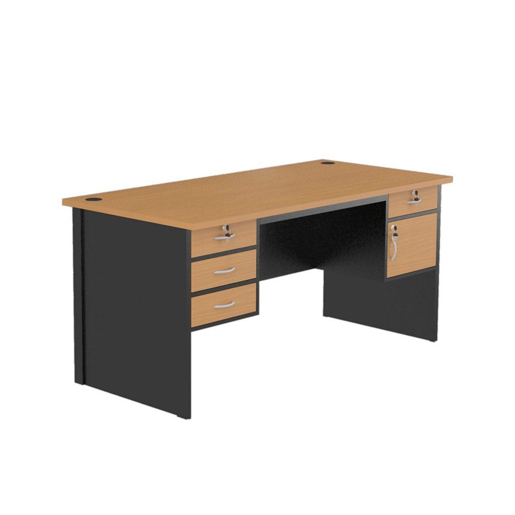 OFFICE TABLE 1 BIRO<br>TYPE : NST - 1080<br>SIZE : 160 X 75 X 75 CM<br>COLOUR : BEECH - BLACK