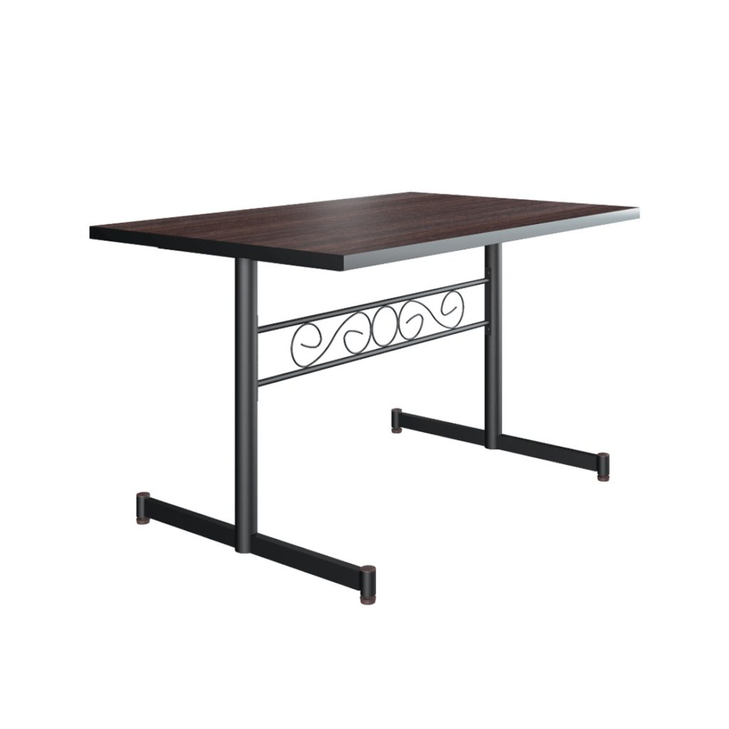FOOD COURT TABLE<br>TYPE : NEW ALABAMA 1280<br>SIZE : 120 X 80 X 76 CM<br>COLOUR : WALNUT + BLACK