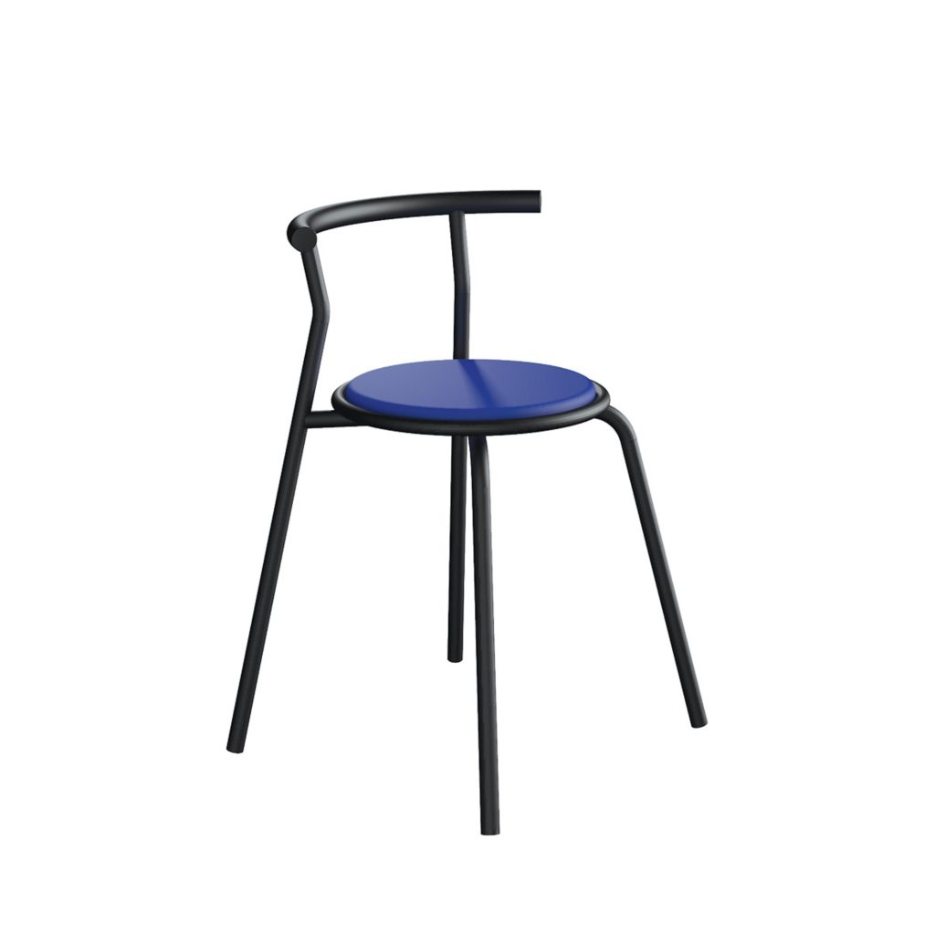 FOOD COURT CHAIR<br>TYPE : TOKYO<br>SIZE : 49 X 41 X 67,5 CM<br>COLOUR : BLACK + BLUE