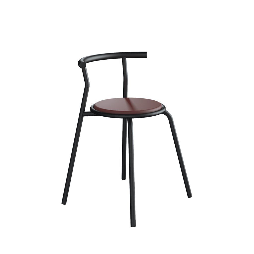 FOOD COURT CHAIR<br>TYPE : TOKYO<br>SIZE : 49 X 41 X 67,5 CM<br>COLOUR : BLACK + MAROON