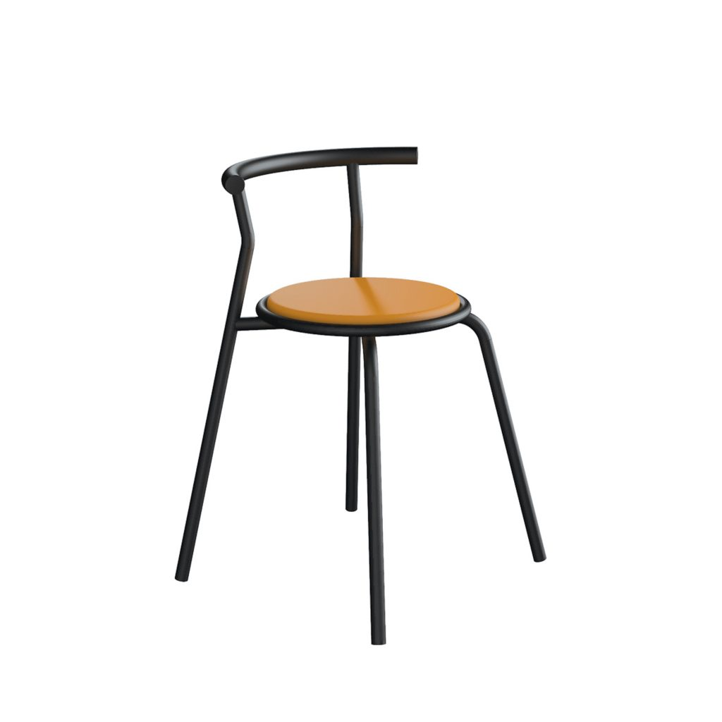 FOOD COURT CHAIR<br>TYPE : TOKYO<br>SIZE : 49 X 41 X 67,5 CM<br>COLOUR : BLACK + ORANGE