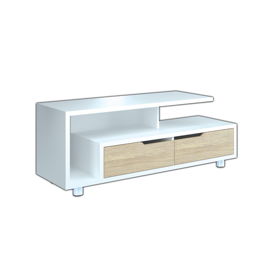 AUDIO MEDIA RACK<br>TYPE : WASHINGTON<br>SIZE : 120 X 40 X 47 CM<br>COLOUR : WHITE SONOMA L CREAM